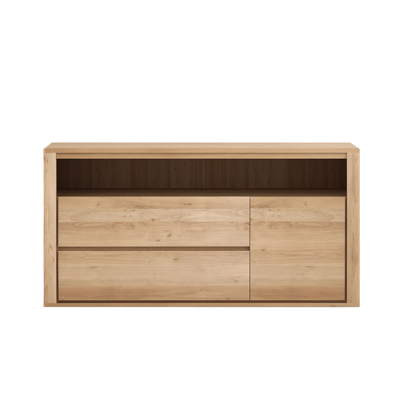 oak storage drawers with flat handle less front