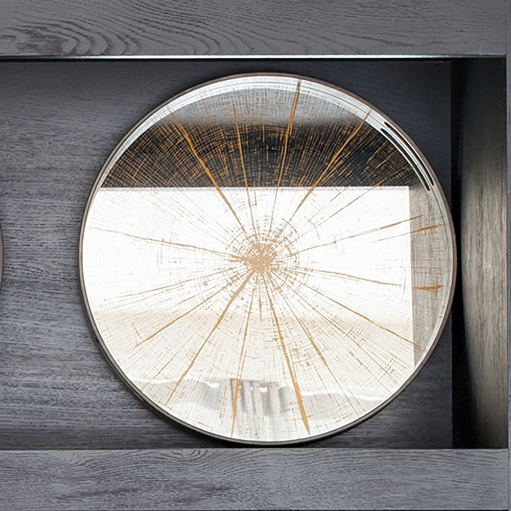 mirror tray with slice tree trunk design shown on black shelf display