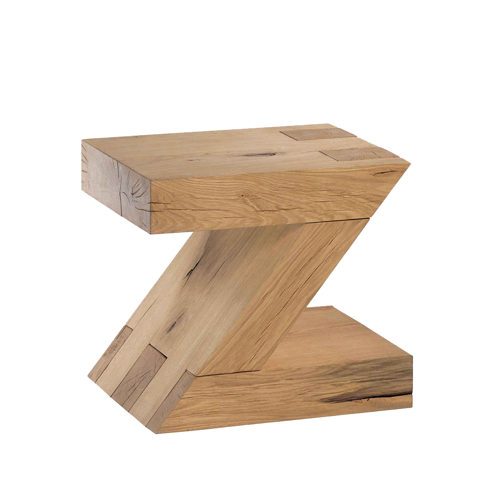 solid oak stool or table in the shape of a Z, showing knots, cracks and grain of the wood.