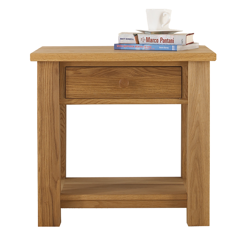 Studio Oak Lamp Table With Drawer & Shelf