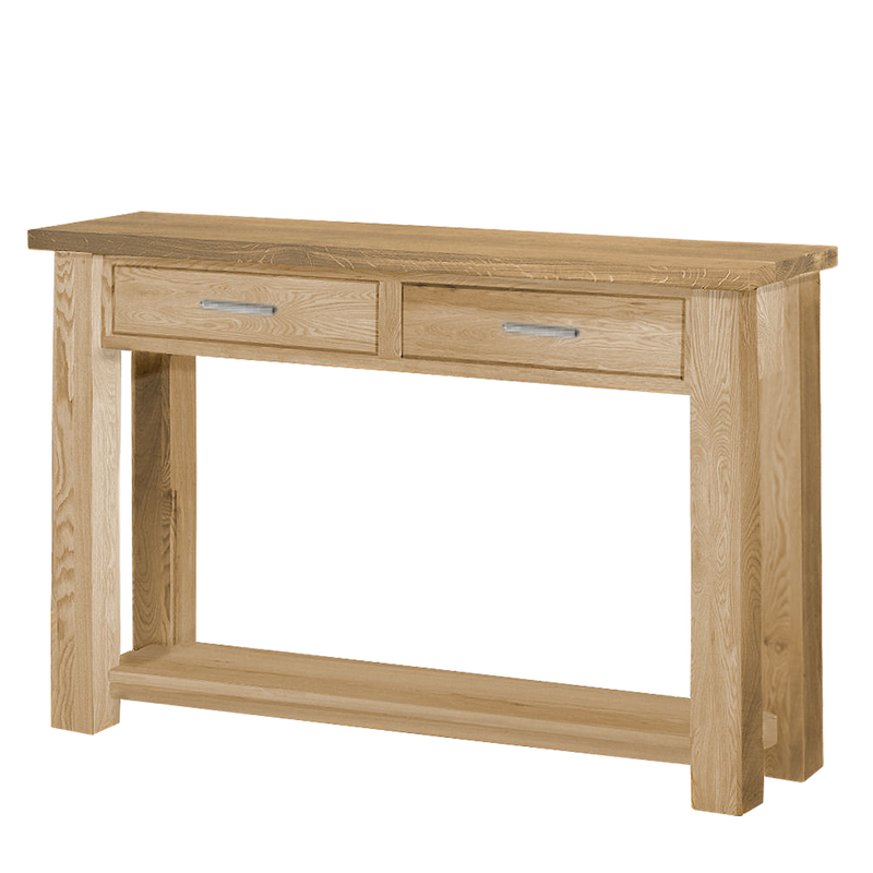 studio hall console table with two drawers for key and mail storage. solid oak, metal handles