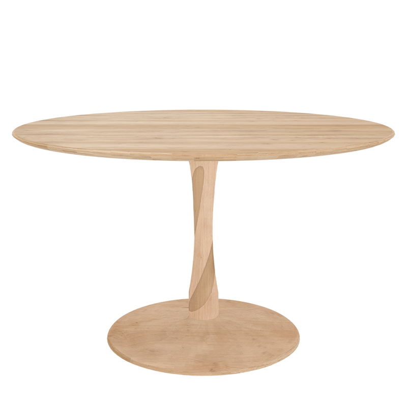 T1 table is round on a centre pedestal that looks like a twisted piece of oak. round floor plinth for stability