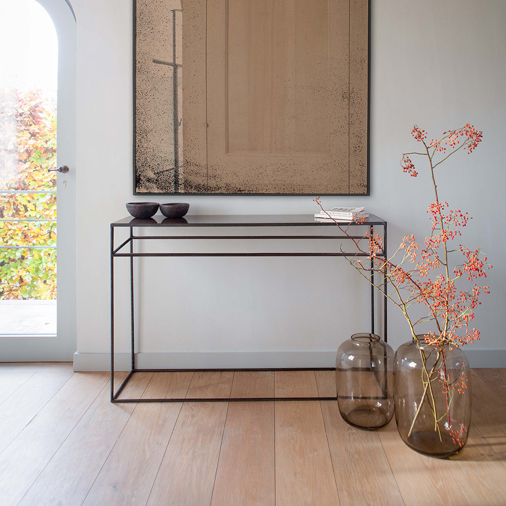 aged mirror console table- bronze glass