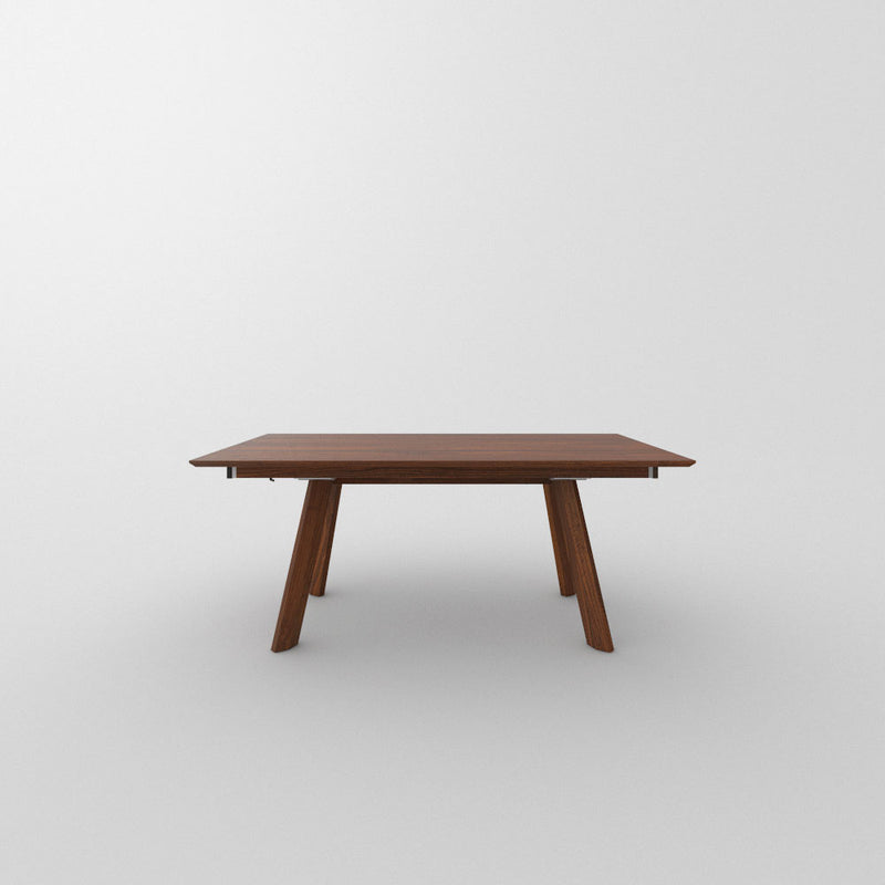 walnut extending table closed from the side