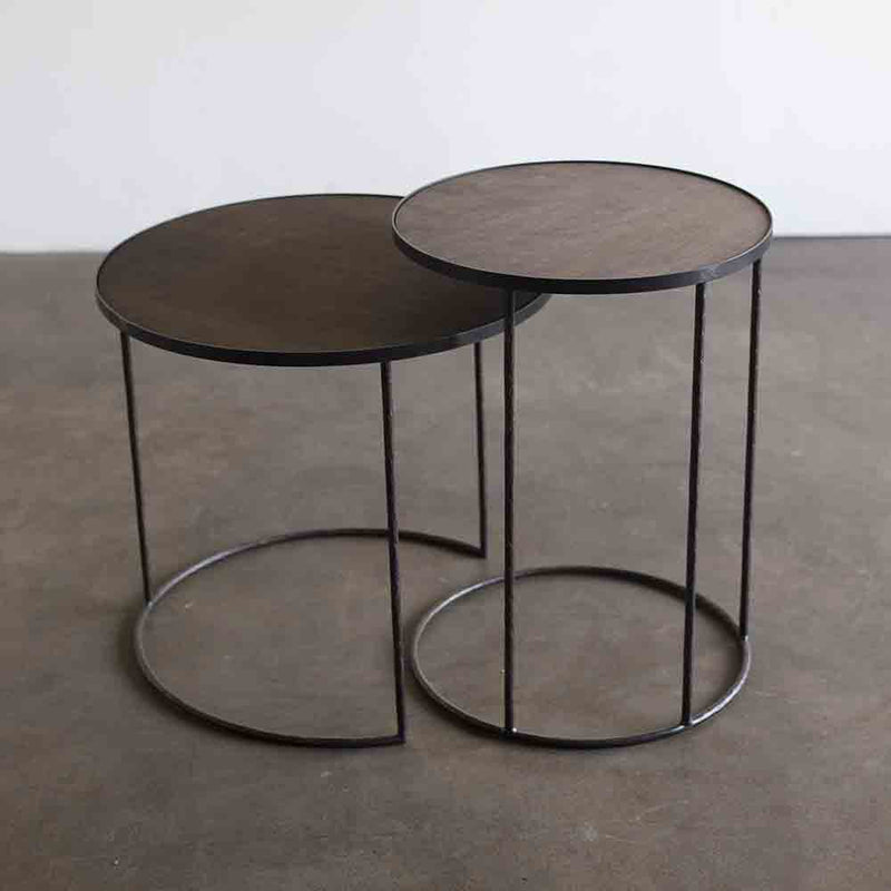 black metal framed tables, with black wood tops, a small lip will hold on the tray of your choice - sold seperatley.