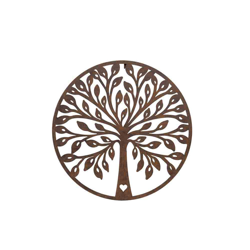metal wall art, round plaque showing rust coloured tree of life with heart in the trunk