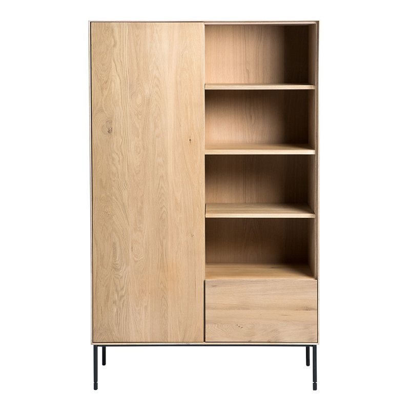 wb oak storage cupboard with open shelves over a drawer and black metal legs