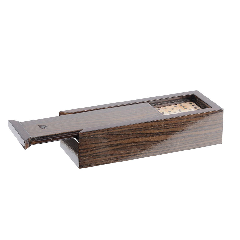 Walnut veneer sliding domino box, with sliding lid-open showing wood dominoes