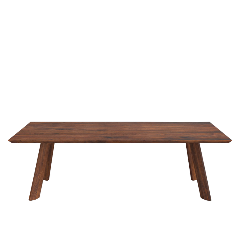 walnut rombi dining table with four legs with a Rhombus shape profile