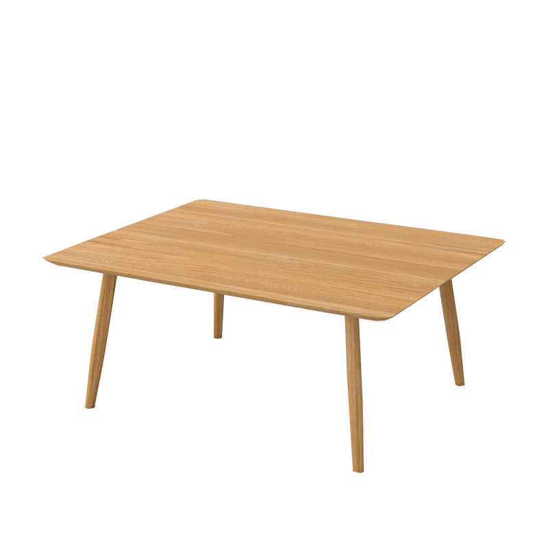 atlas rectangle fixed dining table with rounded profile angled legs