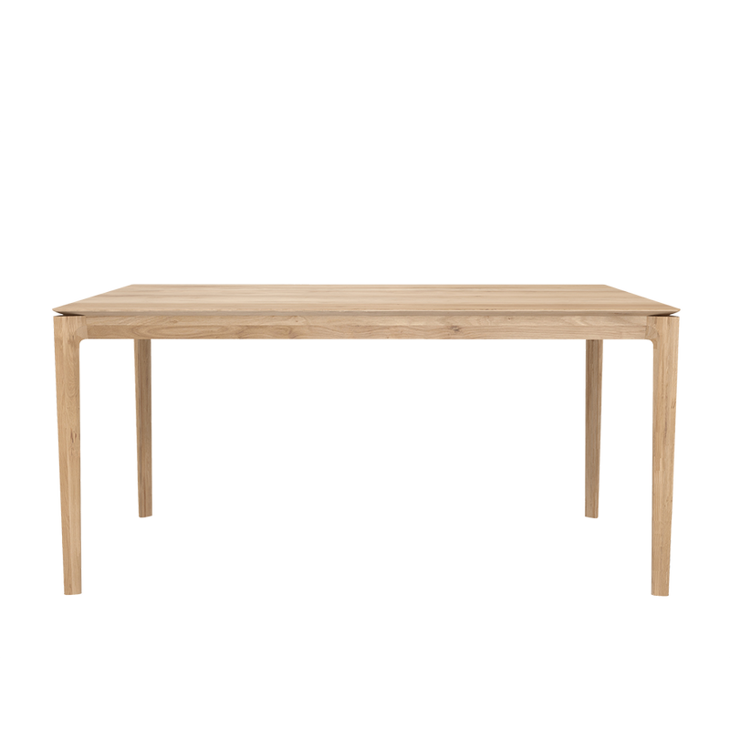 solid oak table with rounded corners and legs