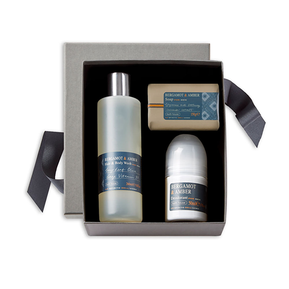bergamot and amber shower set= soap bar, bodywash and deoderant on grey luxury giftbox