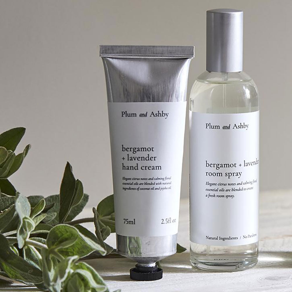 bergamot and lavender handcream and room spray bottles