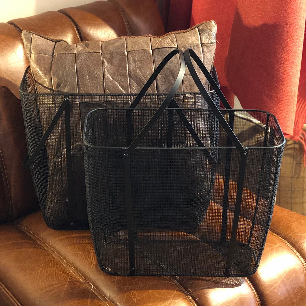 Black Woven Metal Magazine Basket