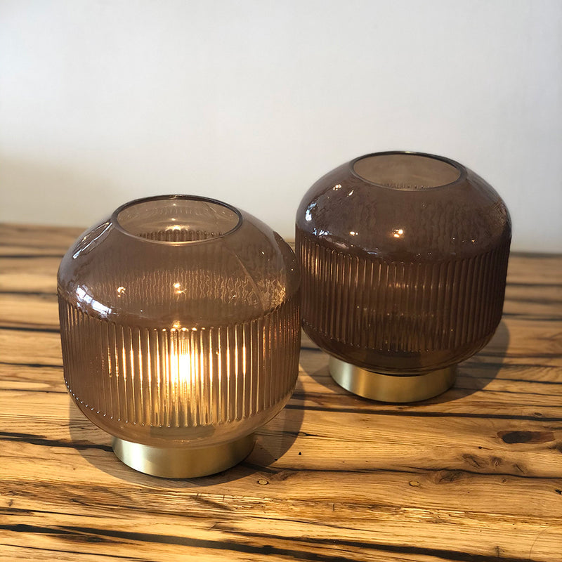 Ribbed Glass Battery Table Lamp