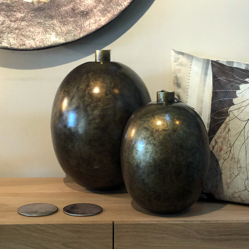 Burnished Bronze Bottle Vase