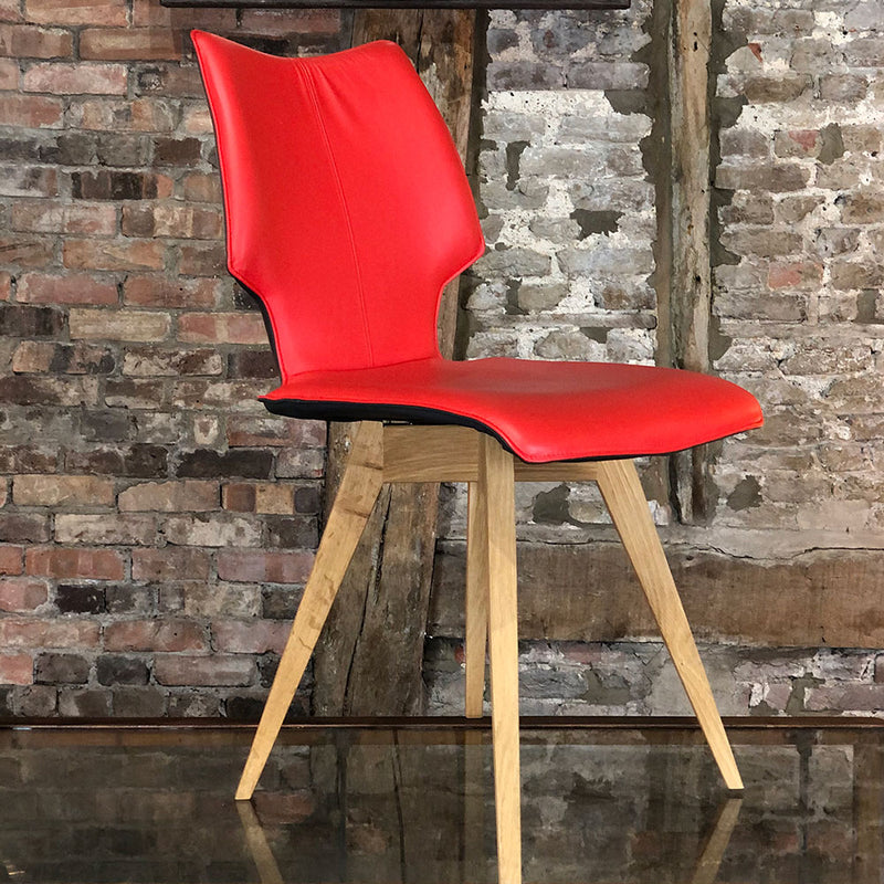 c1 chair with oak angled legs and red leather seat