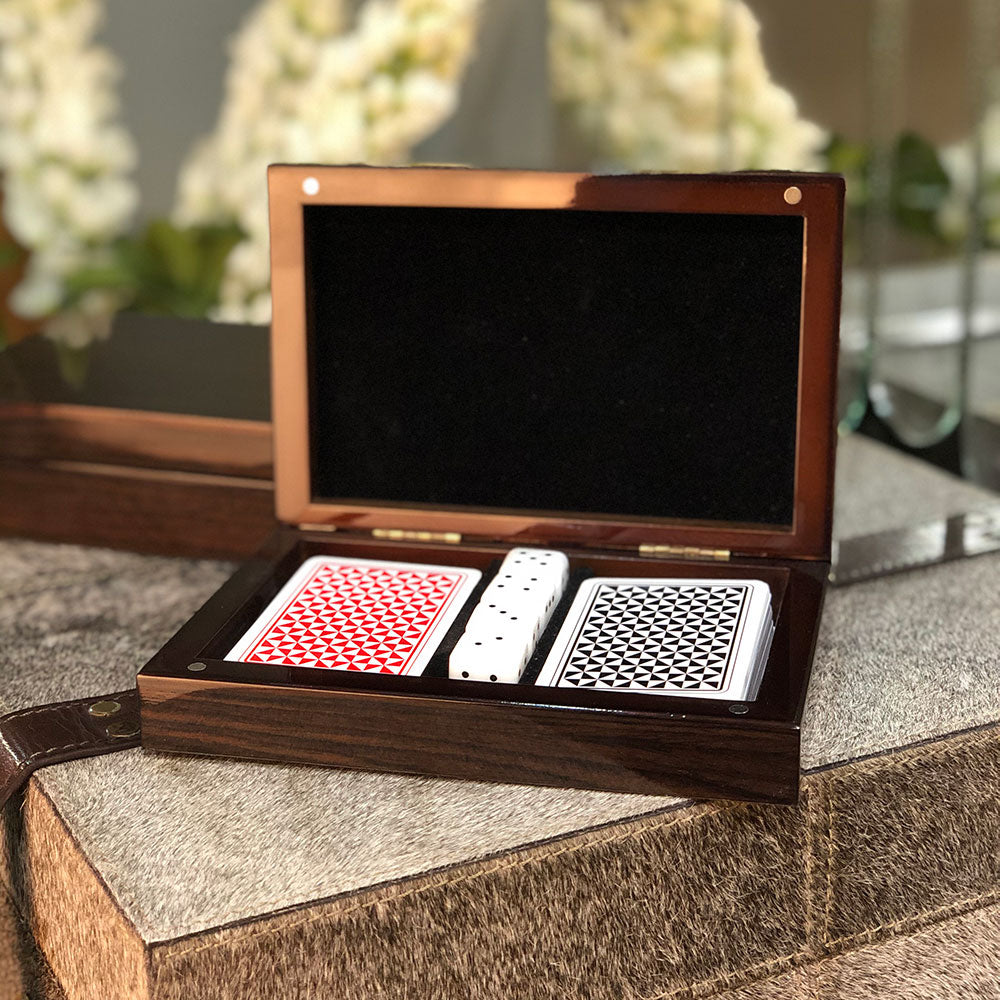 Burnished Walnut Veneer Card Games Box