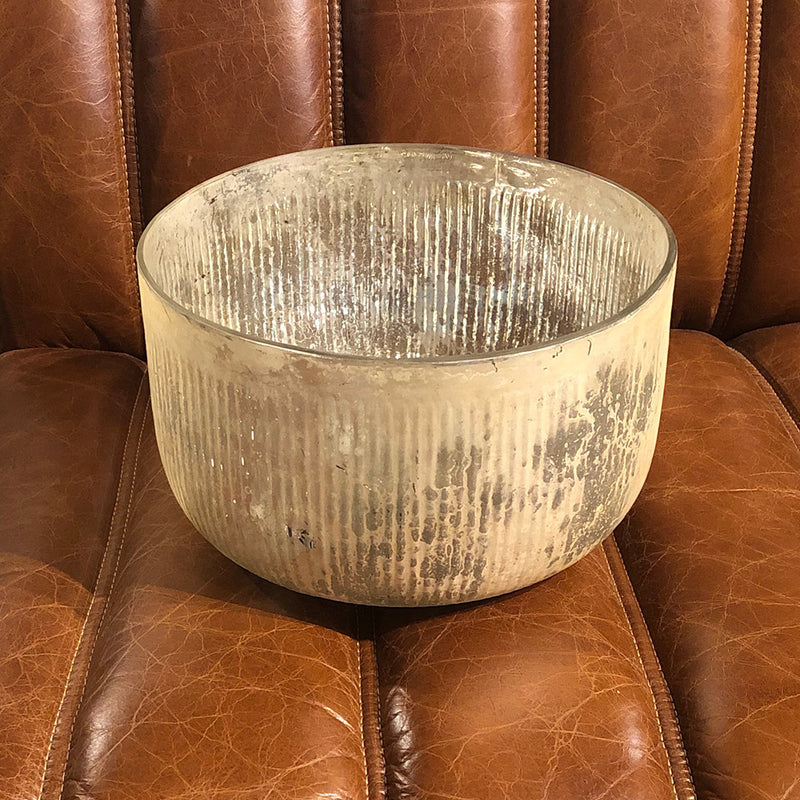 Champagne Ribbed Mercury Glass Bowl