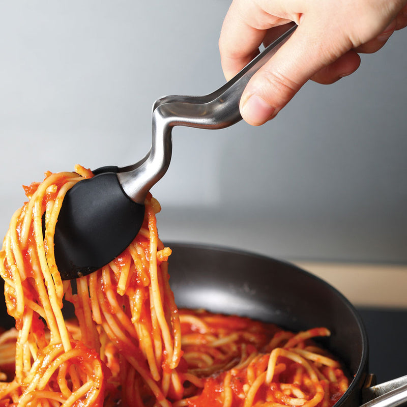 tongs lifting spaghetti in the silicone ends.