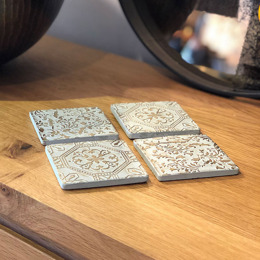 tile coaster side view, thick chunky tiles .