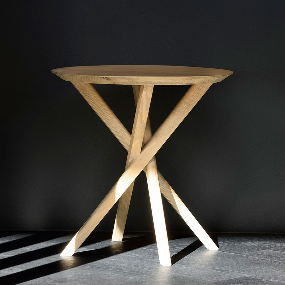 elements solid oak side table with crossed  legs