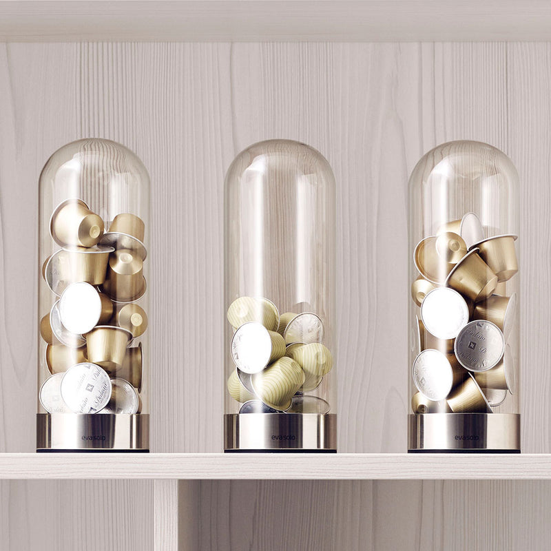 coffee pod dispenser, glass dome shaped container to fill with capsules.