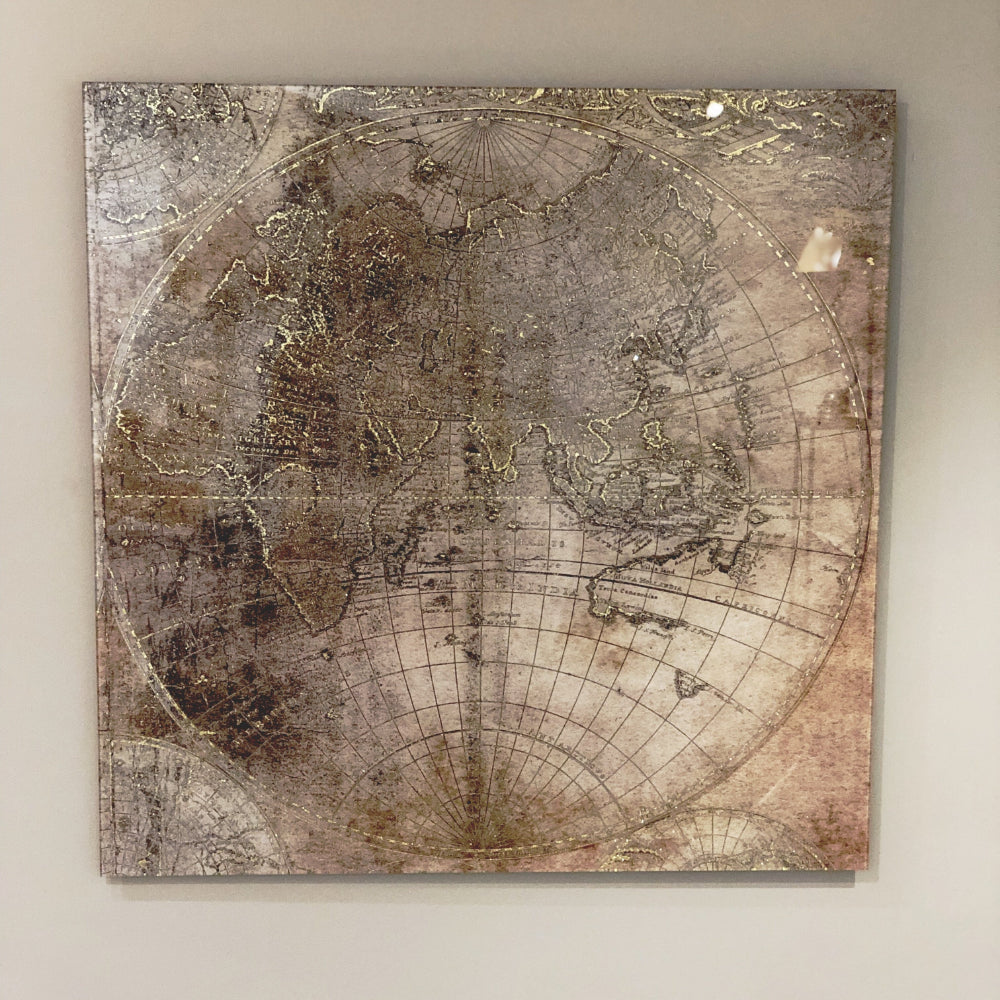 Vintage style distressed picture of the world, light browns and gold, under glass to hag as a square wall hanging.