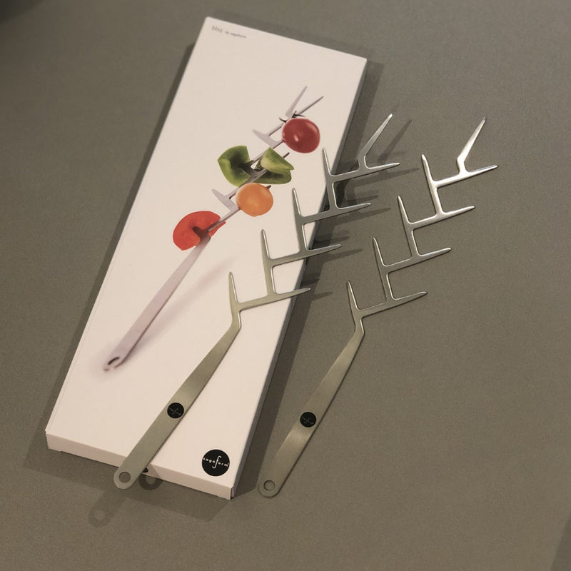 barbeque  accessories - use the tree shaped skewer for vegetables on the prong 'branches'.