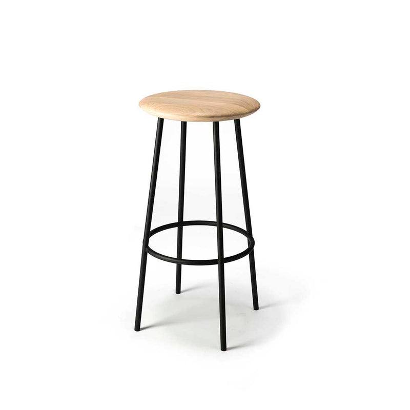 tall black frame legs with circle footrest, oak round button shaped seat
