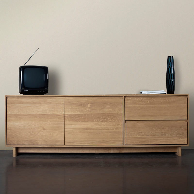wave tv cupboard styled as a living room.