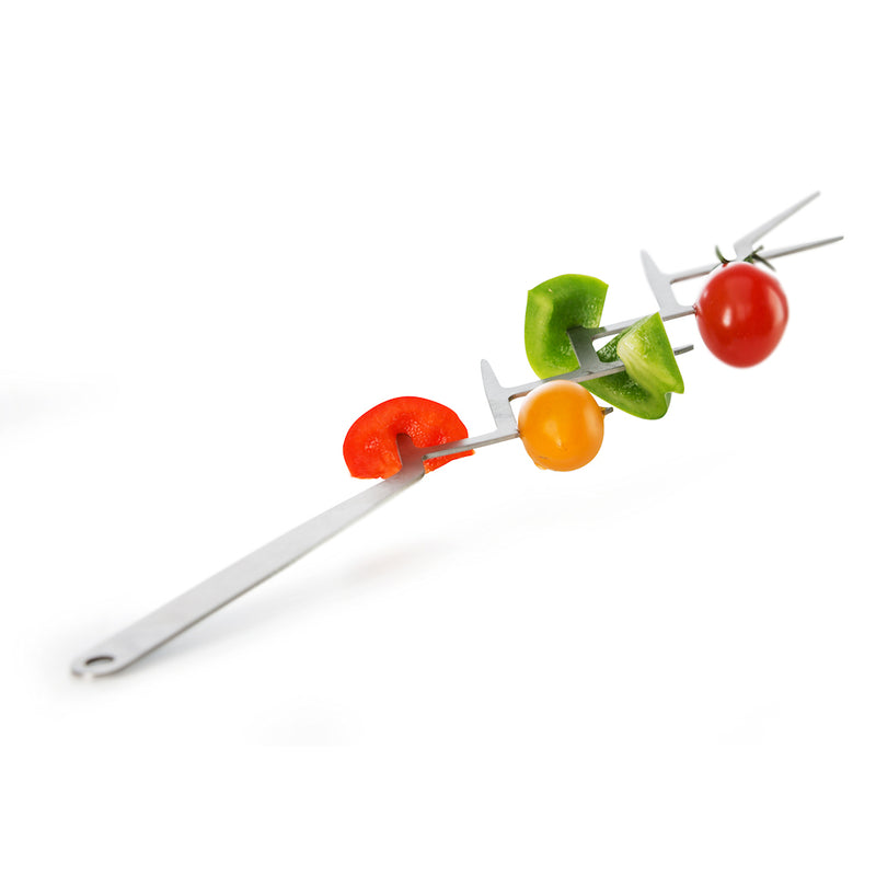 tree skewers with food on, all steel with hanging loop on handle.