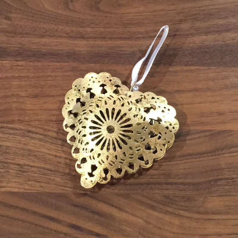 Filigree gold metal hanging heart, cut out  design