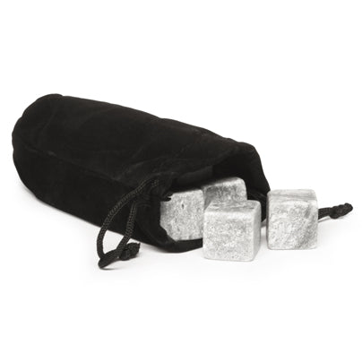 grey stones shown in black storage bag