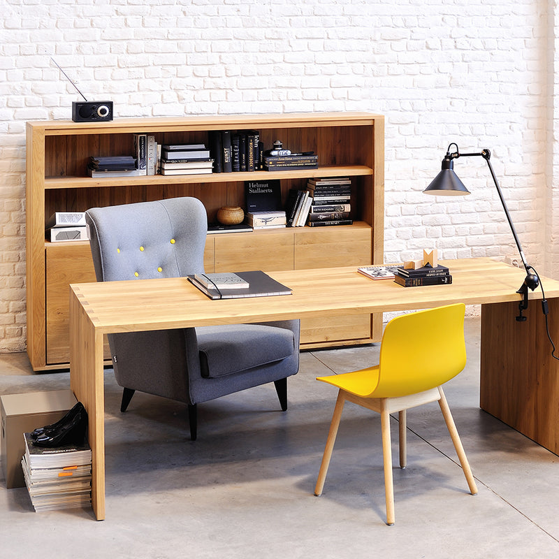 U desk styled in an office with other oak office furniture