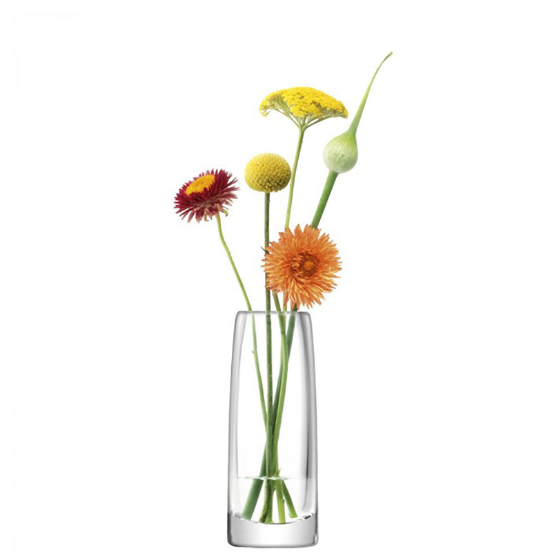 clear glass bud vase, sightly tapered at top, with 5 individual stems in.