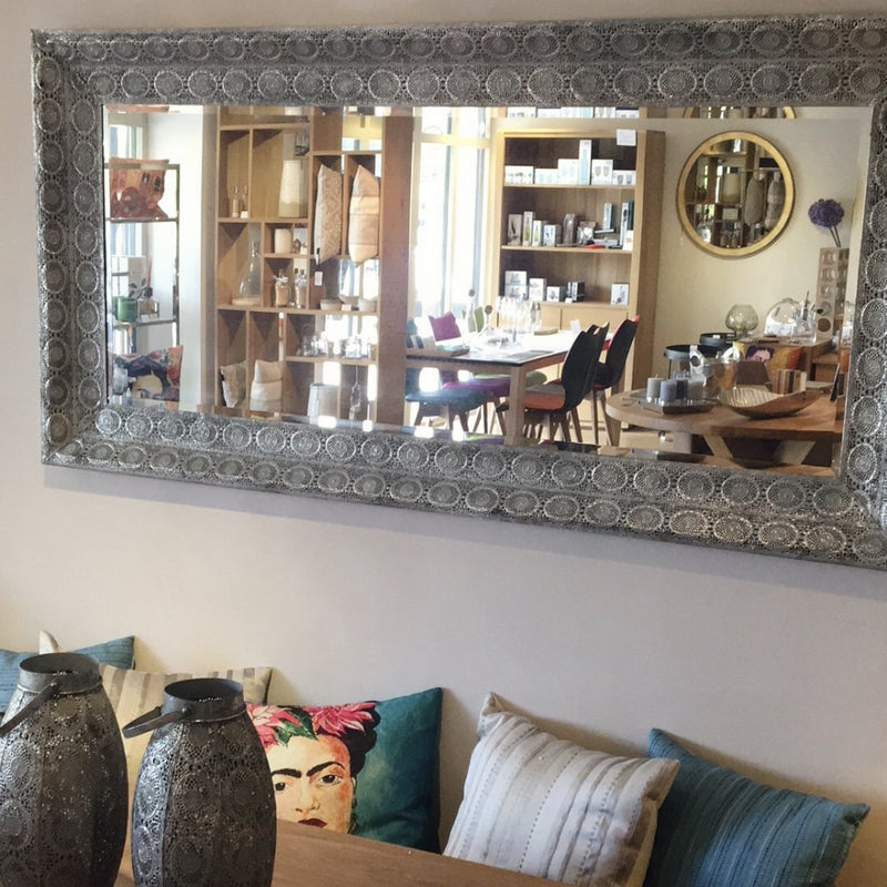 maura mirror wall mounted  in the horizontal position. shown over dining room bench.