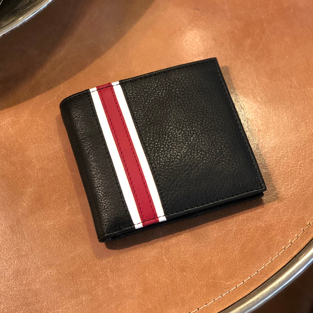 black wallet with feature stripe of white and red. all leather.