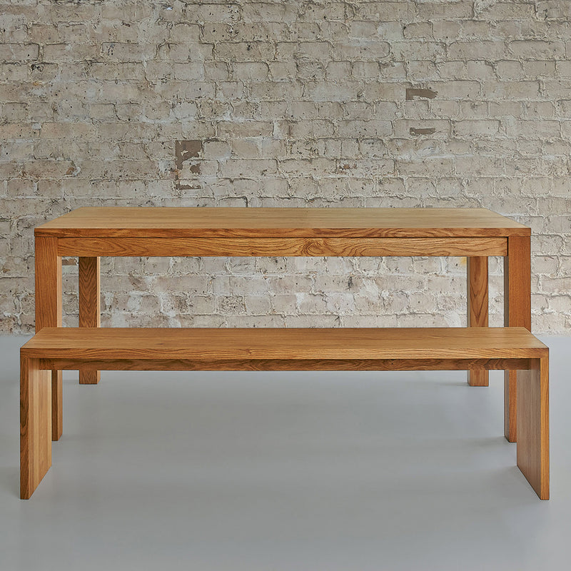 maya bench shown with the journeyman table, simple squared edges,