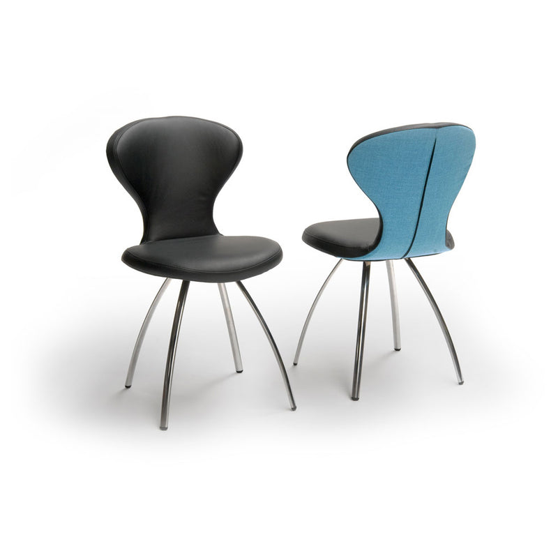 R1 dining chair bespoke options, shown in black leather with metal legs and blue back leather with metal legs