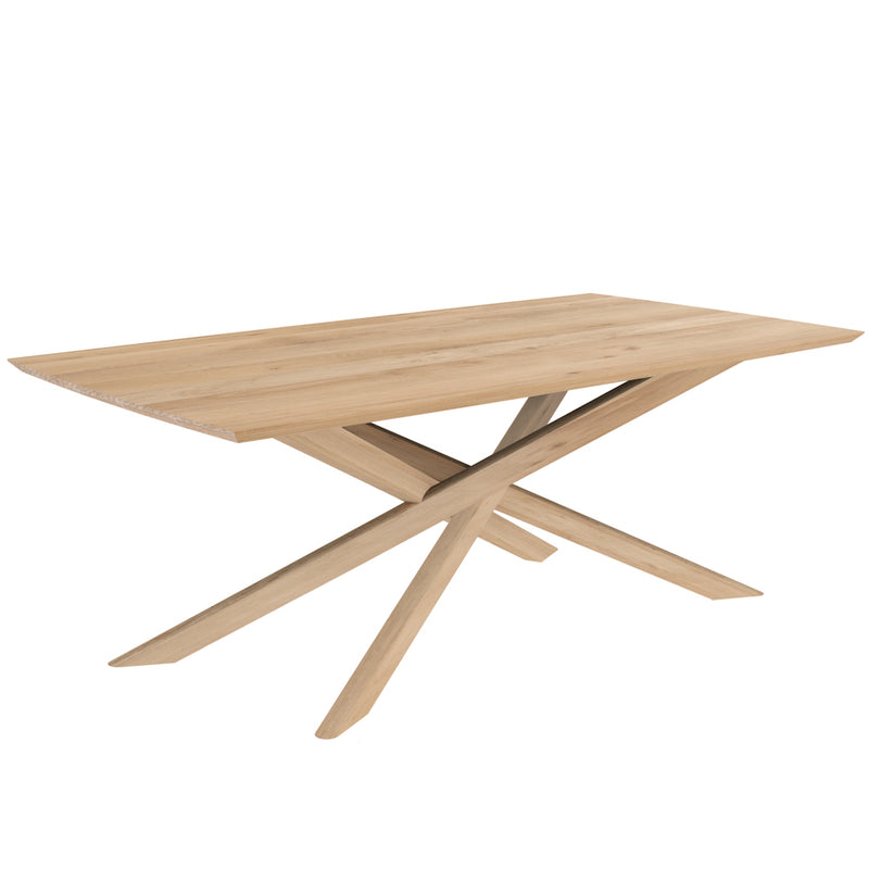 elements solid oak dining table with crossed  legs, angle view