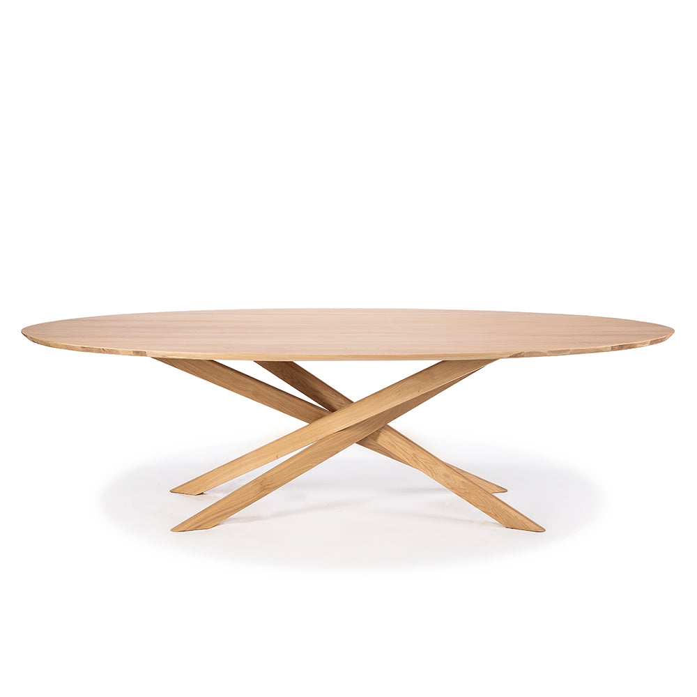 elements oval solid oak dining table with crossed legs