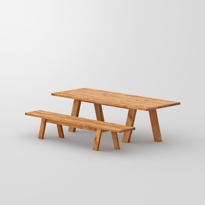 oak dash table in oak with matching bench