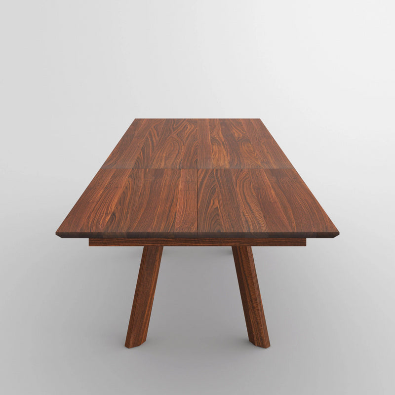 End view of extending walnut table