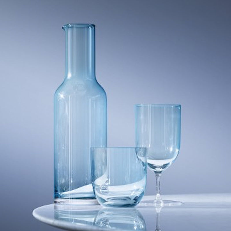 Hint Aqua blue collection of carafe, water glass and tumbler from LSA
