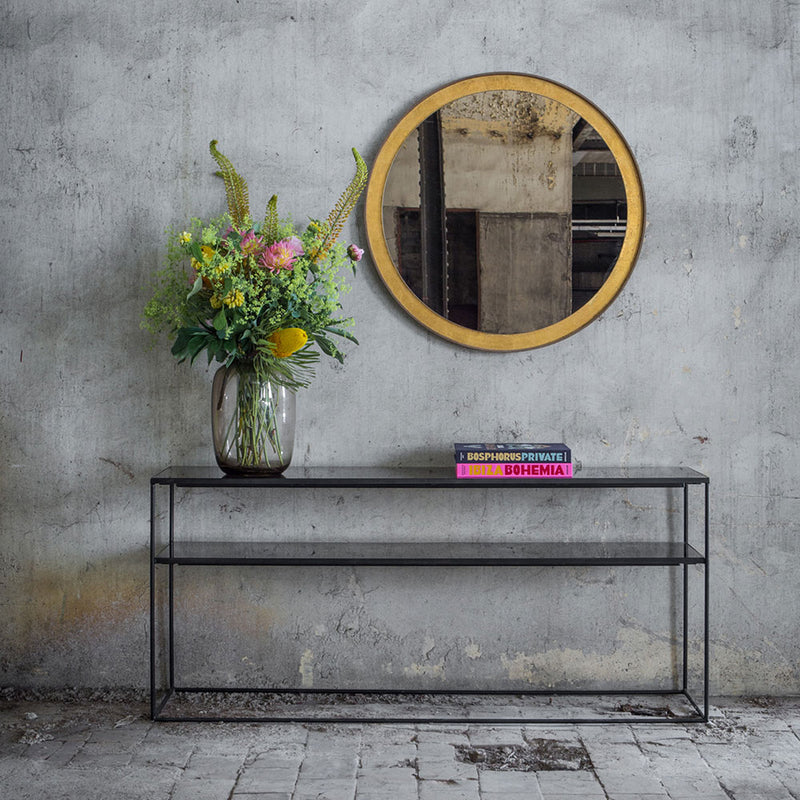 sofa console in charcoal mirror finish, black frame as hall table under mirror