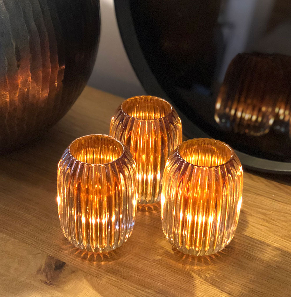 Golden Ribbed Glass Tealight Holder