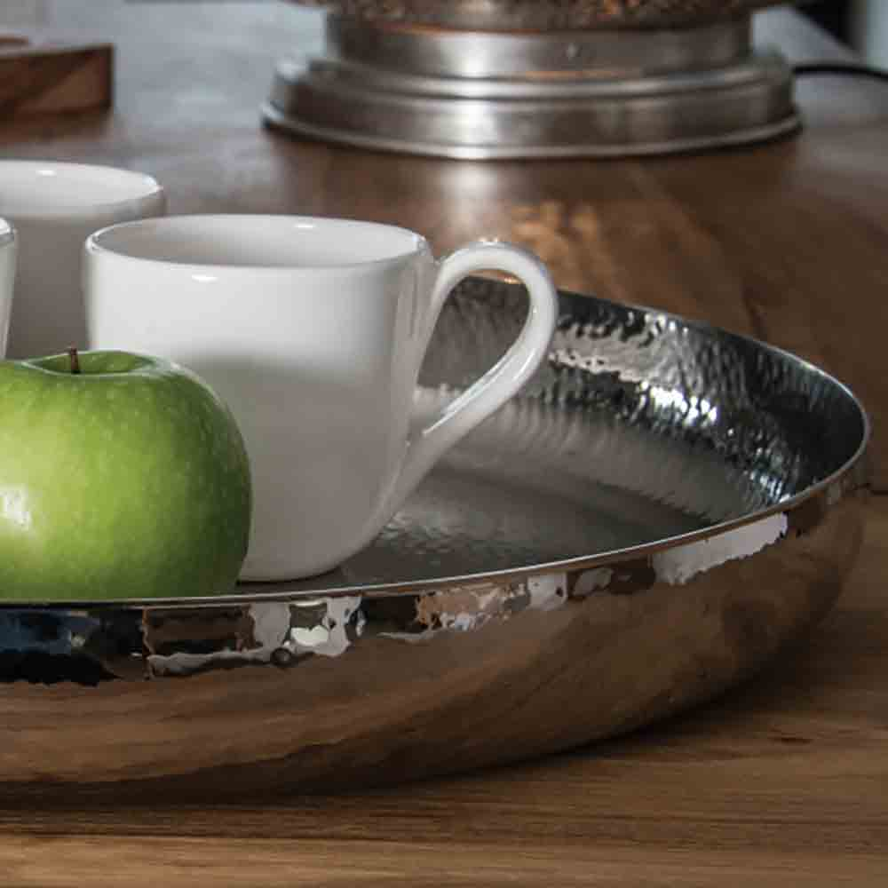 stainless steel silver tray with high sides and hammered finish