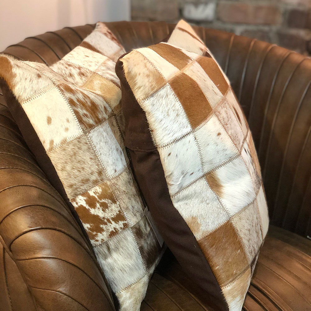 Cow Hide Patchwork Cushion