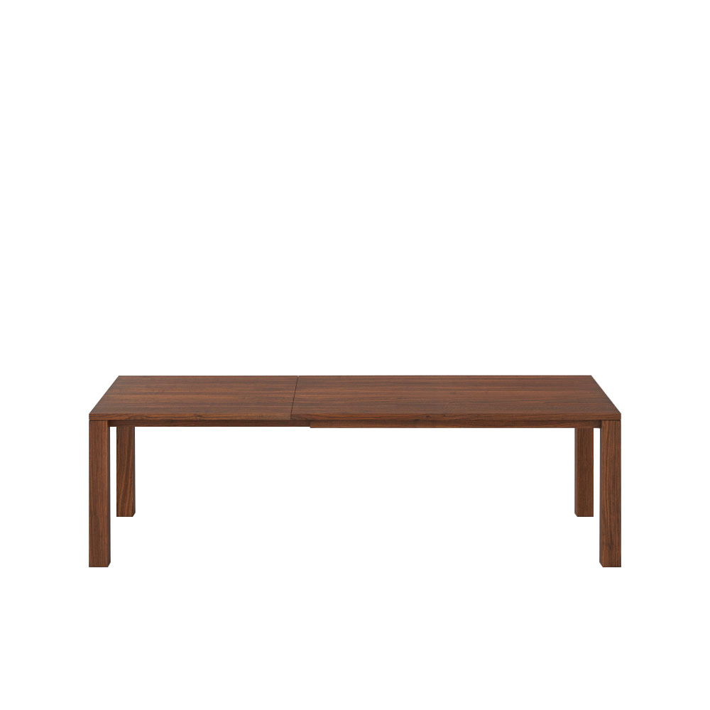 extended walnut journeyman table with 2 leaves with continuous grain